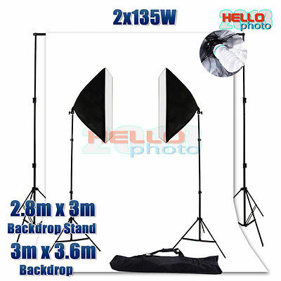 Photography Studio Soft Box Softbox Lighting Backdrop Background Light Stand Kit