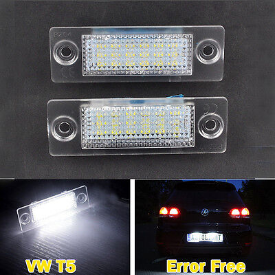 2× LED License Number Plate Light Lamp For VW T5 Touran Golf Jetta Caddy Passat