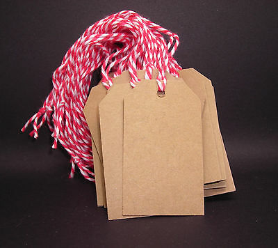100 Blank KRAFT Gift Tags with Strings Strung MEDIUM Merchandise Price Tags