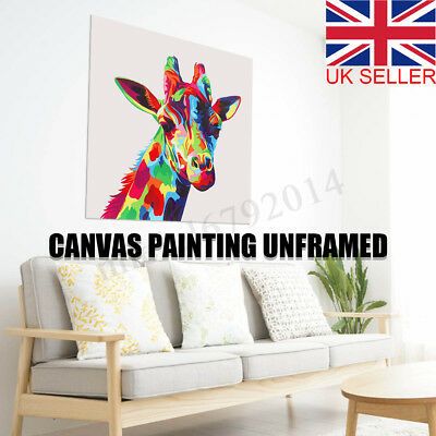 Colourful Giraffe Animal Canvas Painting Print Picture Wall Art Unframed Decor