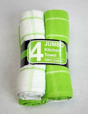 4 Pack Jumbo Tea Towels - 100% Cotton - Comes in 4 different colours