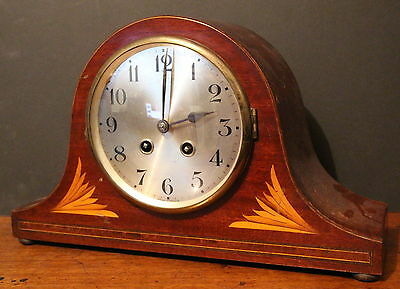A French Inlaid Mahogany Cased 8 Day Mantle Clock Balance Wheel