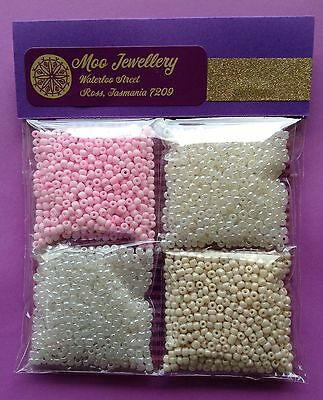 Bulk 80g Glass Seed Bead Pack Jewellery Kit Craft Pink Pearls - Aussie Seller!!!
