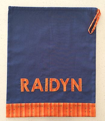 Custom made personalised kids child name bag library kindy preschool childcare