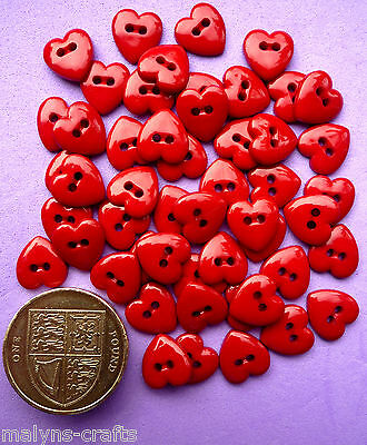 TINY RED HEARTS 9mm Craft Buttons Mini Sewing Love Christmas Valentine Small Sew