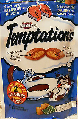 WHISKAS TEMPTATIONS TREATS FOR CATS -SAVOURY SALMON - LOW CALORIE TREATS - 85 g