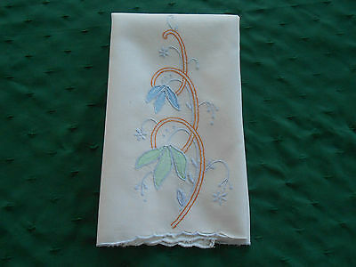 White Linen Towel With Unique Hand Embroidery And Applique, Vintage 1920