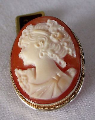 Vintage Women's 800 Silver Carved Cameo 14K rope Brooch Pendant for Necklace