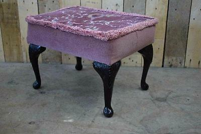 Vintage Retro Padded Footstool With Queen Anne Legs - Upcycle / Recover?