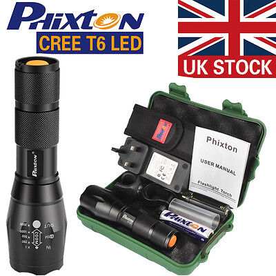 UK X800 Shadowhawk 6000LM Zoomable XM-L T6 LED Tactical Flashlight+18650 Battery