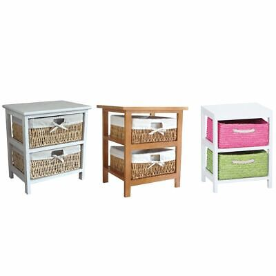 Maize Storage Unit 2 Drawer Wood Storage Fabric Lined Baskets White Brown