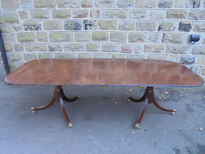 Quality Antique Mahogany Twin Pillar Extending Dining Table