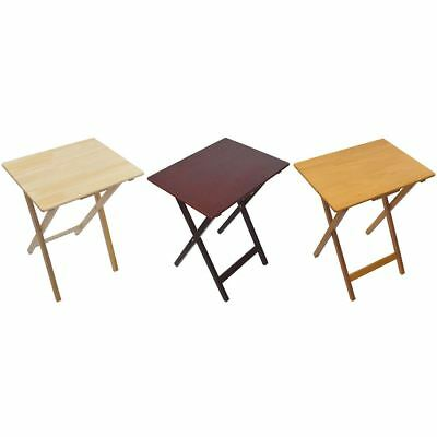 Folding Snack Table Pine Wood MDF TV Side Laptop Coffee Tea Portable Bench