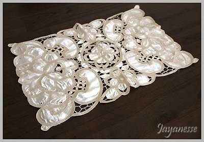 Vintage cream satin & lace rectangle table runner centre doily mat 58cm long