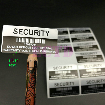 100 x Silver VOID Security Removed Tamper Evident Warranty Sticker Serial Number