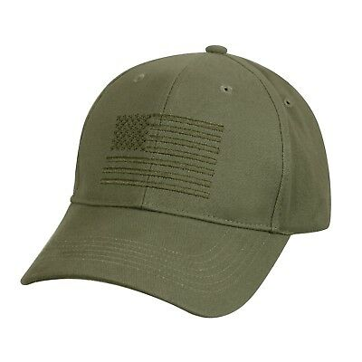 Low Profile Baseball Cap Olive Drab American Flag Embroidered US Flag Hat