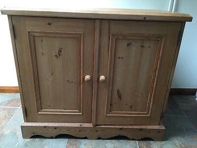 Vintage Antique Country Solid Pine Double Door Cupboard Shabby Chic