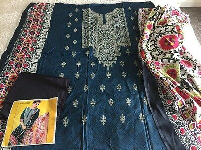 Pakistani Embrioded Linen Suit COLLECTION UN-STITCHED SHALWAR KAMEEZ SUIT