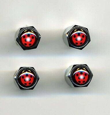 Ladybugs 4 Brass Chrome Plated Tire Valve Caps Car and Bike Featuring Ladybugs