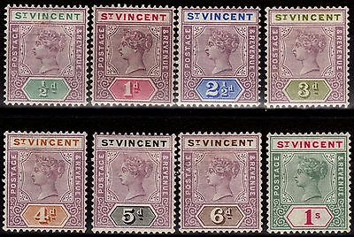 St Vincent 1899 set of 8 to 1s SG67-74 Fine & Fresh Mtd Mint