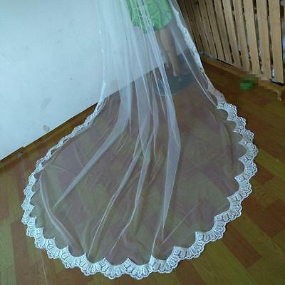 New 3M Cathedral Lace Edge Wedding Bridal Veils Long Bridal Veil+ Comb