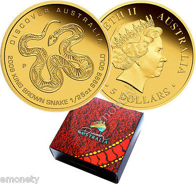 2009 Discover Australia Brown SNAKE 1/25 oz GOLD Coin Proof $5 AUD box + GIFT