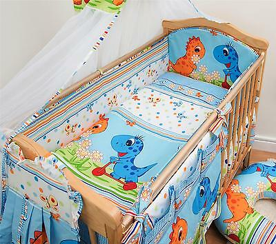 3 Piece Baby Cot Bedding Set with 4-sided Bumper to fit 140x70 cm - Pattern 20