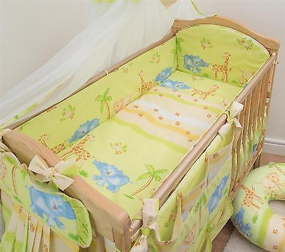 3 Piece Baby Cot Bedding Set with 4-sided Bumper to fit 140x70 cm - Pattern 1