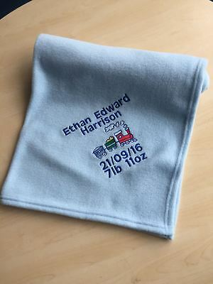 Personalised Embroidered Baby Blanket Soft Fleece Train kids New Born Gift