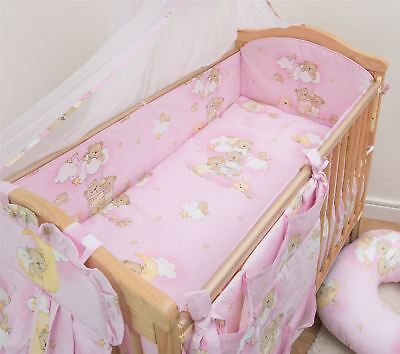 3 Piece Baby Cot Bedding Set with 4-sided Bumper to fit 140x70 cm - Pattern 5