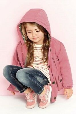 BNWT Girls Pink Cotton Coat Jacket With Hood & Floral Lining 2-3 Years RRP £28
