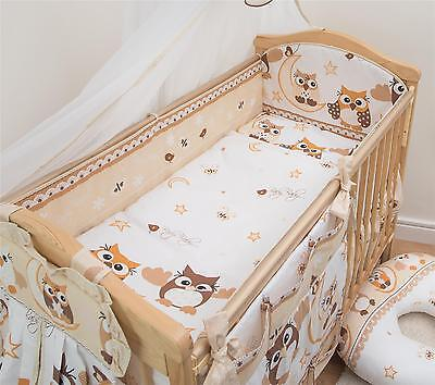 3 Piece Baby Cot Bedding Set with 4-sided Bumper to fit 140x70 cm - Pattern 7