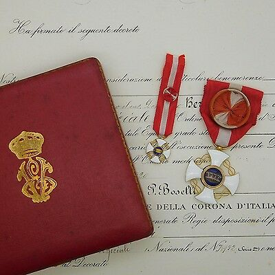 Italy Medal Order of the Crown of Italy with case and certificate  gold type