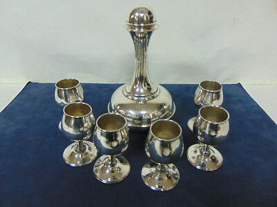 Vintage Taxco Sterling Silver .925 Decanter W/ 6 Cordial Cups