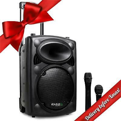 "Professional 500W Portable Active 10"" Pa Speaker Usb Sd Mp3 System + Microphones"