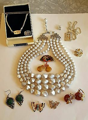 Vintage Estate Lot of 10 ~ Necklaces Earrings Brooches Jewelry Sterling