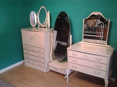 Vintage Louis style three piece bedroom suite tallboy chest cream paint finish
