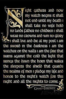 Game of Thrones Night's Watch Oath HBO New 24 X 36 Poster Print