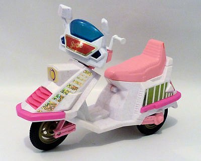 Vintage 1980's BARBIE Doll SCOOTER Bike Mattel White & Pink Hologram Stickers