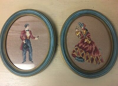 2 VINTAGE VICTORIAN NEEDLEPOINT PETIT POINT OVAL FRAMED WALL gorgeous