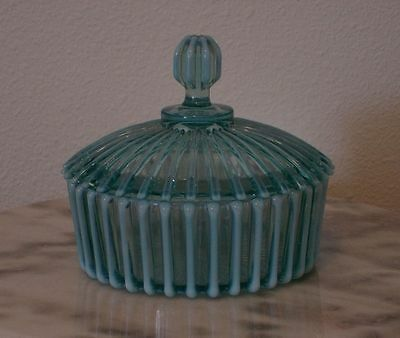Beatty Rib Blue Opalescent  Covered Butter Dish Rare!