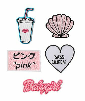 Embroidered Patch Pack Set Iron On Badge Gift Cute Tumblr Kawaii Rainbow Shell 1