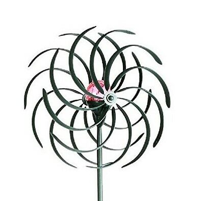 Wind Spinner Sculpture With Color Changing Solar Light Verdigris 6.5 ' Tall