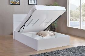 White High Gloss Storage Bed Double