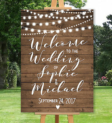 Personalised Welcome Wedding Sign Un-Backed-A3 A2 A1-Rustic-Vintage-Wood Effect