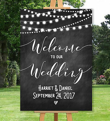 Personalised Welcome To Our Wedding Sign Un-Backed -A3 A2 A1-Chalkboard Effect