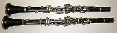 set of Vintage Wooden Buffet Crampon A Paris Made in France Clarinets A Bb pair