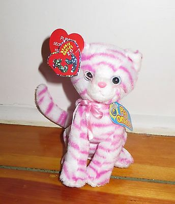 Ty Beanie Babies 2.0 Purry pink and white plush cat Mint With Mint Tags