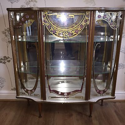 Vintage Etched Glass Cabinet Mirrored Back