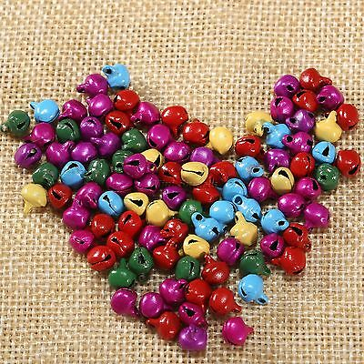 100Pcs Jingle Bells Iron Beads Random Color Festival Home Decor DIY Craft